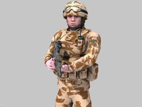 British Royal Marine Desert Rigged Soldier